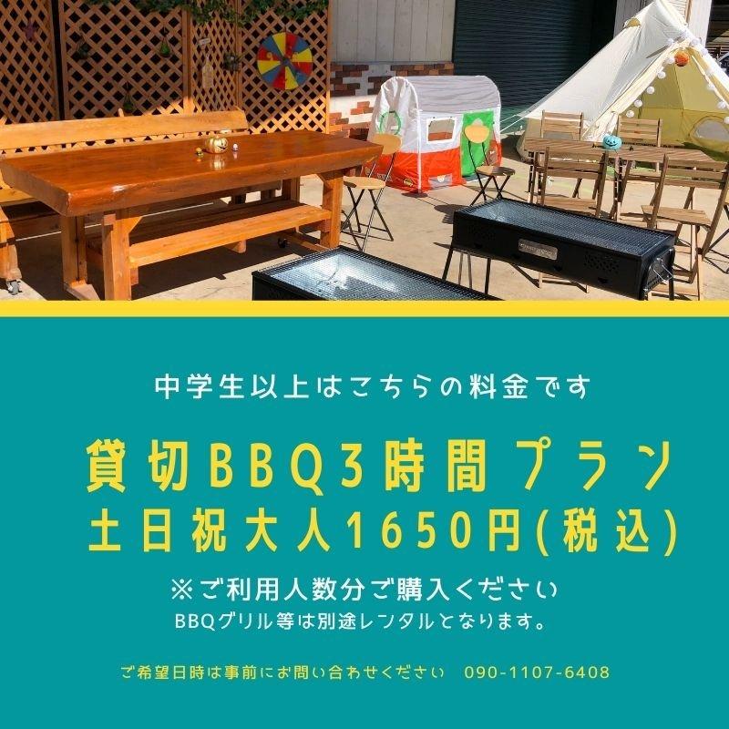 【飲食持ち込み制】貸切BBQ3時間プランチケット(土日祝)のイメージその1