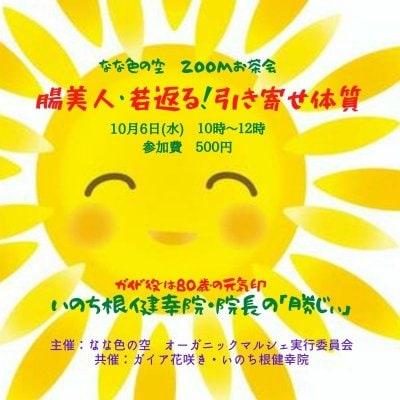 なな色の空主催・いのち根健幸院共催 ZOOMお茶会「腸美人♡若返り!引き寄せ体質」参加チケット