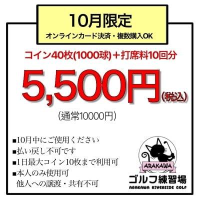 【限定150枚】コイン40枚(1000球)+打席10回分=5,500円チケット(カード払いOK)