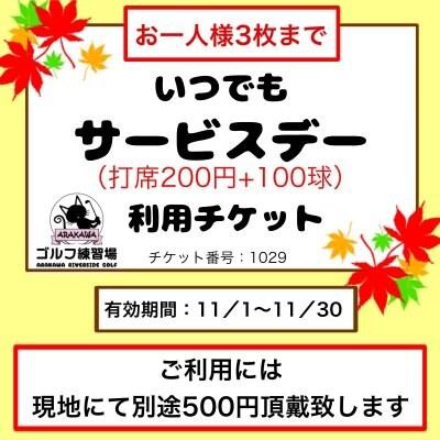 """【チケット番号1029 / お一人様3枚まで】""""いつでもサービスデー""""チケット(カード払いOK)"""