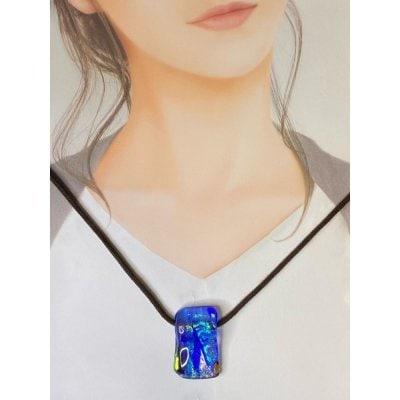 ペンダントトップ「クリア・ブルー」No.1ベネチアンチタンガラスアート