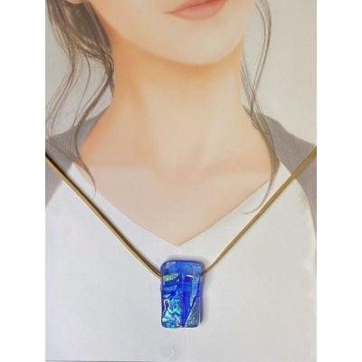 ペンダントトップ「クリア・ブルー」No.3ベネチアンチタンガラスアート