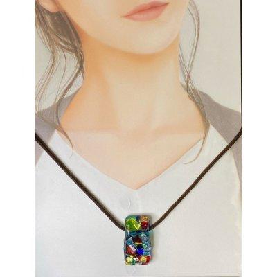 ペンダントトップ「市松」No.1ベネチアンチタンガラスアート