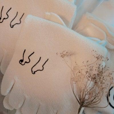 [ロゴ入り☆]絹の5本指ソックス
