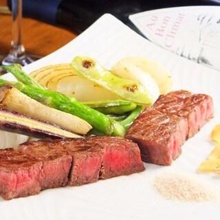 神戸牛モモステーキと有機野菜のコース