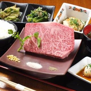 黒毛和牛ロースステーキとお惣菜三品の和志ん御膳