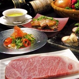 黒毛和牛ロースステーキと、フォアグラorキャビア、選べる前菜コース フォアグラの鉄板焼か