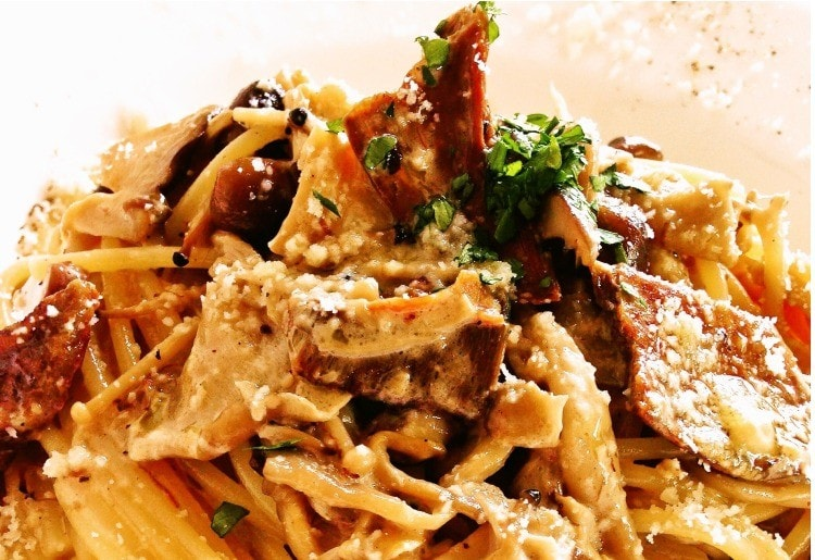 ポルチーニ茸と森の木の子のクリームソーススパゲッティ