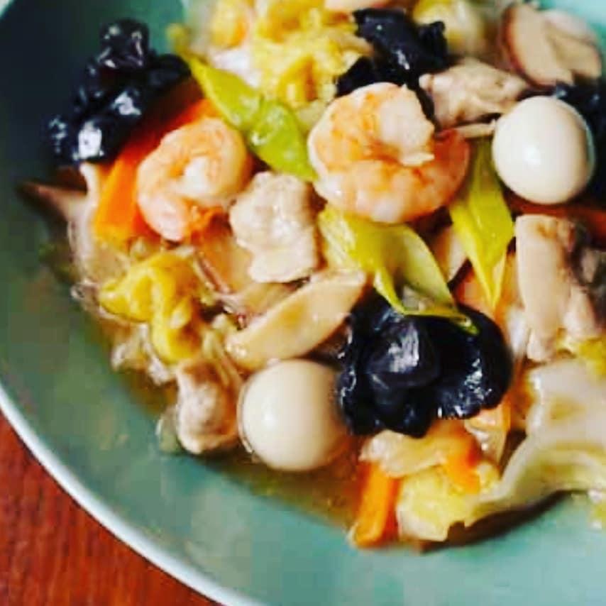 八宝菜と中華スープのセット