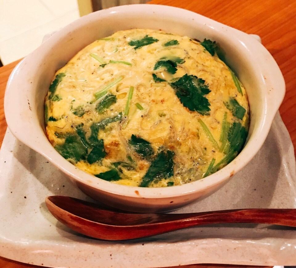 ちりめんと三つ葉と卵のオーブン焼き