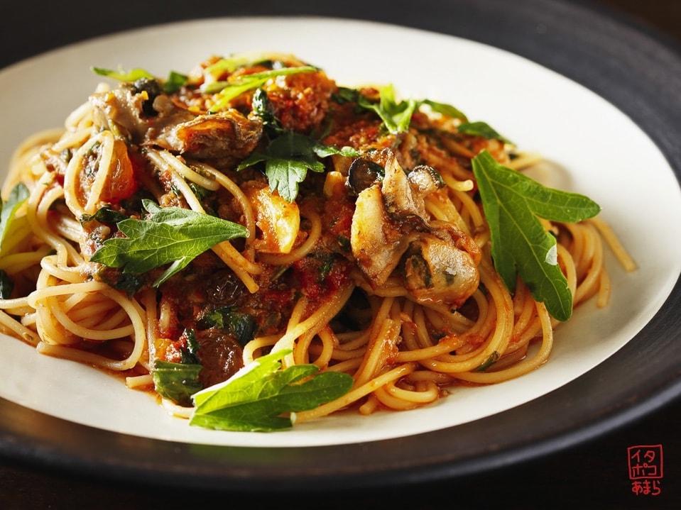 牡蠣のトマトソーススパゲッティ