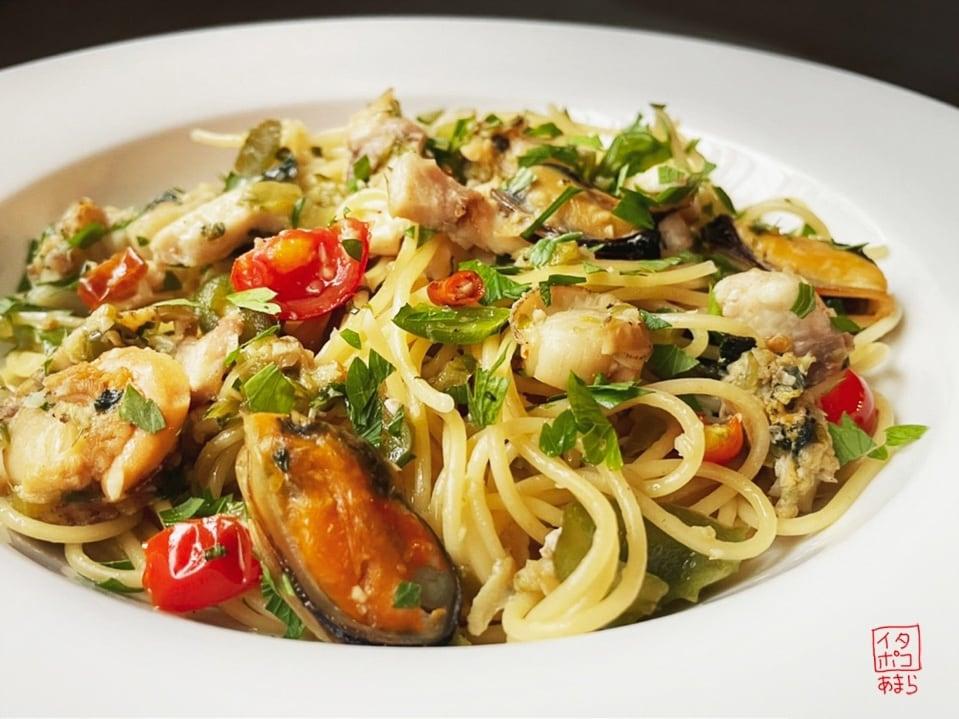 魚介のペペロンチーノスパゲッティ