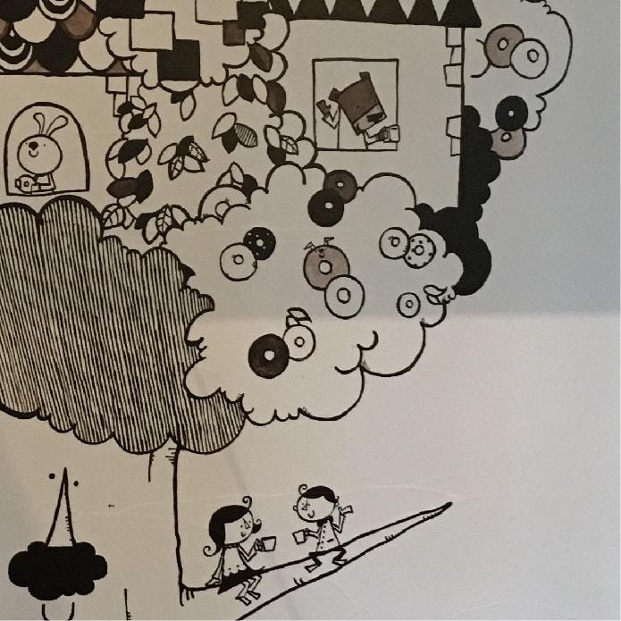 Bagel&Coffeeこむぎ_入り口_北欧風イラスト_オーダーメイド_壁画窓絵
