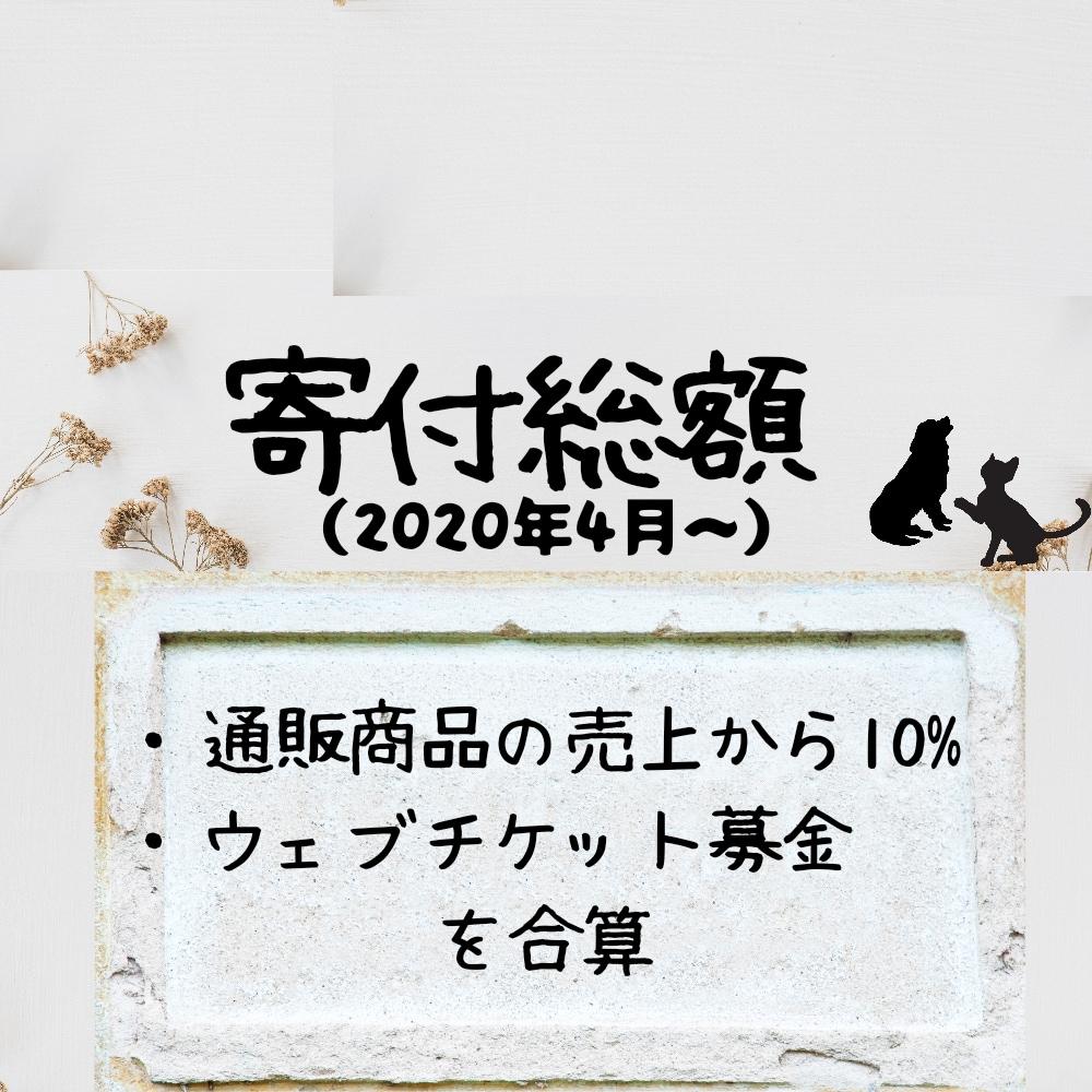 Maruお買い物で寄付の沖縄保護犬猫支援活動なさっている団体、ワンズパートナーへの募金総額内容。その1,通販商品の売上から10%。その2,ウェブチケット募金を合算。