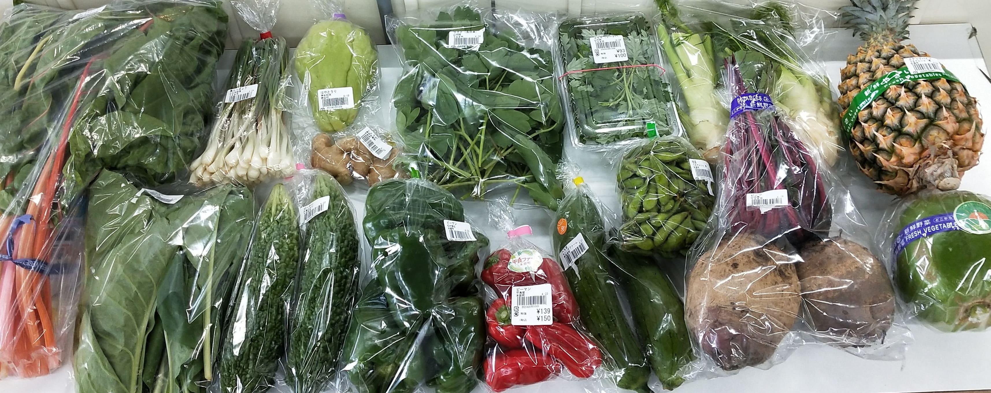 <内容例2> 沖縄伝統野菜:ふだんそう、サクナ、ニガナ、ヨモギ、島らっきょう、ヘチマ、ゴーヤ、イーチョーバー 野菜:ビーツ、はやとうり、生姜、ピーマン、赤ピーマン、枝豆、青パパイヤ 果物:スナックパイン
