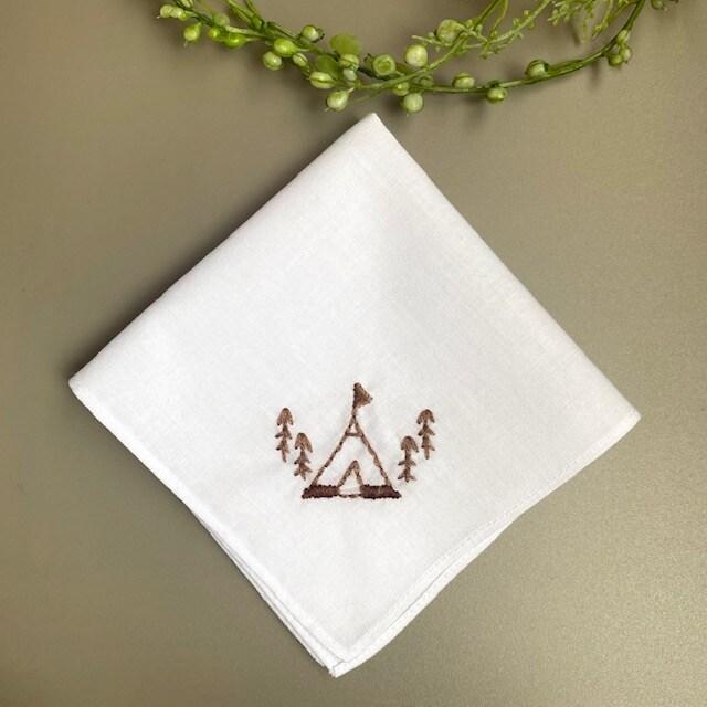キャンプ 刺繍ミニハンカチ