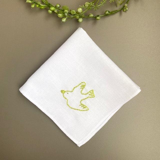 鳥 刺繍ミニハンカチ